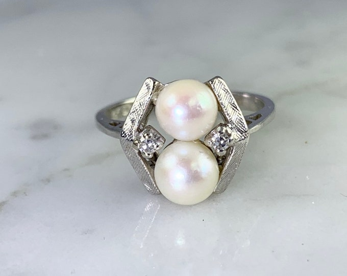 Vintage Akoya Pearl Ring with Diamonds Accents set in 14K White Gold. June's Birthstone. Alternative Engagement Ring.