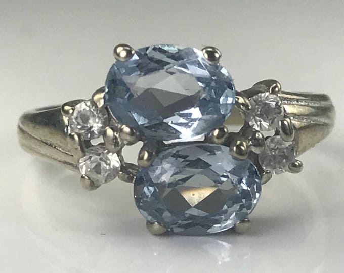 Vintage Tanzanite and Topaz Ring in a 10k White Gold. Unique Engagement Ring. December Birthstone. 24th Anniversary Gift