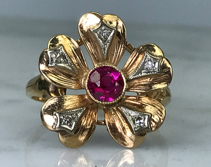 Vintage Ruby Diamond Flower Ring.  Unique Engagement Ring. July Birthstone. 15th Anniversary. Estate Jewelry