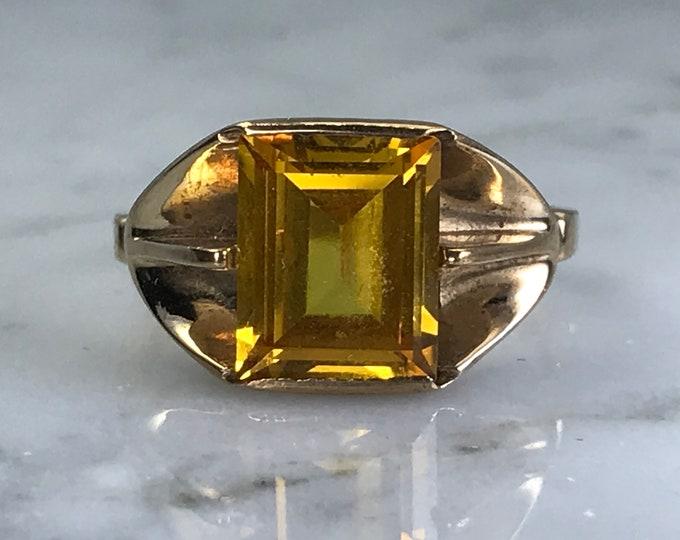 Vintage Citrine Ring . 10K Yellow Gold. 3+ Carat Citrine. Estate Jewelry. Unique Engagement Ring. November Birthstone. 13th Anniversary