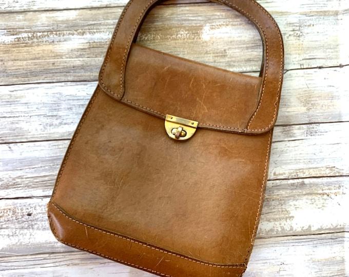 1970s Leather Handbag. Gorgeous and Soft Genuine Brown Leather Bag. Perfect Fall Boho Purse.