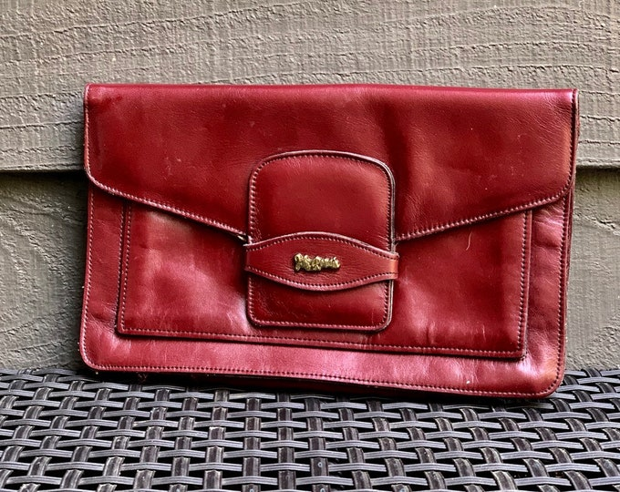 Vintage Burgundy Leather Clutch by John Romain. Envelope Style Handbag. Circa 1970. Gift for Her.