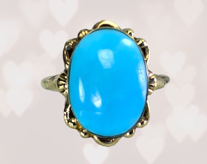 Antique Blue Turquoise Ring in 10K Yellow Gold Setting. Art Nouveau Ring Unique Engagement Ring. December Birthstone. 1920s Estate Jewelry.