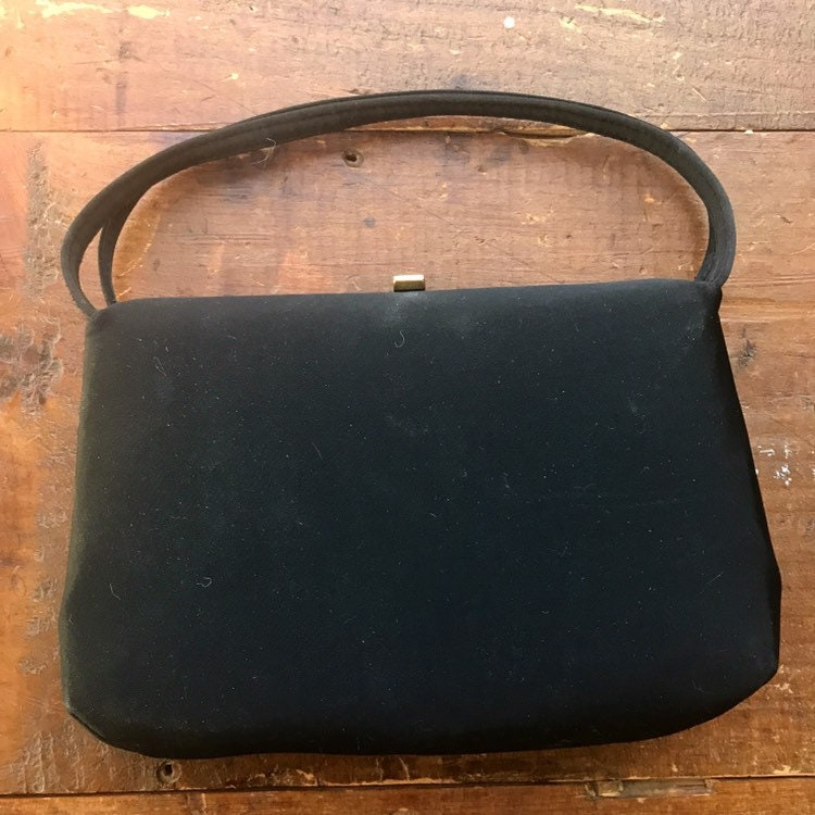Perfect Vintage Little Black Handbag by Ande. Vintage Fashion Accessories.  Circa 1950 Bag. gallery photo ... 5dce4851d55dd