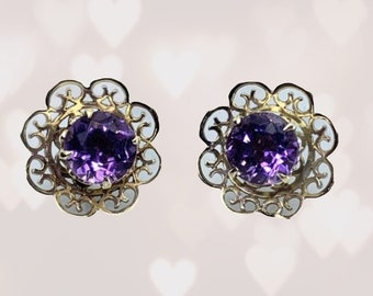 Vintage Amethyst Earrings set in a Yellow Gold Flower Setting. February Birthstone. 6th Anniversary. Wedding Jewelry. 1970s Estate Jewelry.