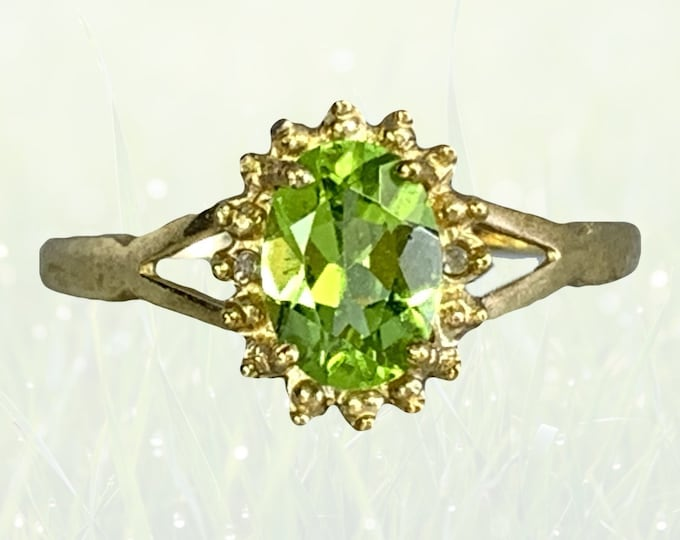 Vintage Peridot Ring in  10K Yellow Gold. Unique Engagement Ring. August Birthstone. 16th Anniversary Gift. 1970s Sustainable Estate Jewelry