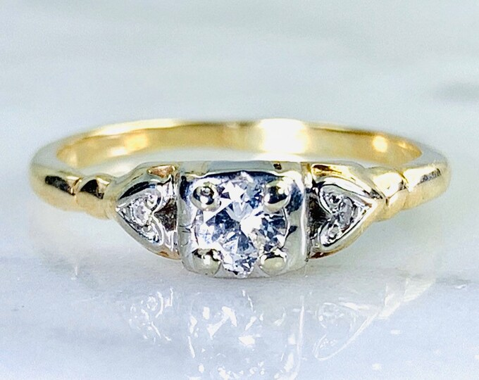Art Deco Diamond Engagement Ring in 14K Gold. Unique Engagement Ring. April Birthstone. 10 Year Anniversary Gift. 1920s Estate Jewelry