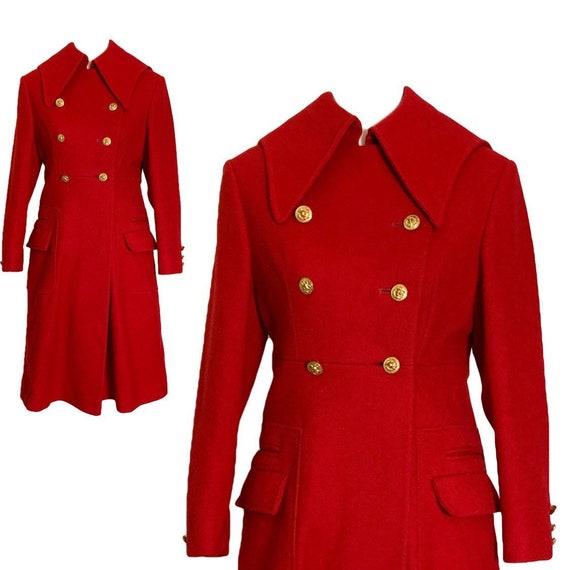 1960s Red Wool Swing Coat by Preen. Warm Winter Co
