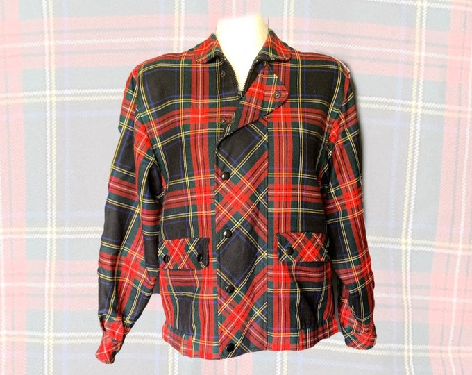 Vintage Wool Bomber Jacket in a Red and Black Plaid by Gloria Gelb. Sustainable Preppy Fashion Statement Circa 1970s.