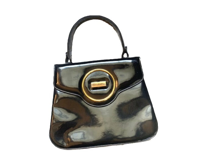 Vintage Black Patent Leather Handbag by Saks Fifth Avenue. 1950s Sustainable Fashion Accessories. Perfect Gift for a Fashion Lover.