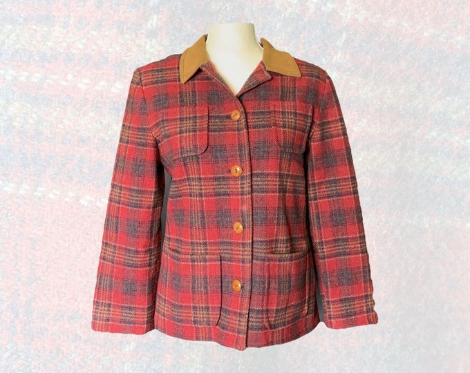 Retro Wool Riding Jacket by Pendleton in a Red and Brown Plaid with a Suede Collar. Warm Winter Coat. 1990s Sustainable Women's Fashion.