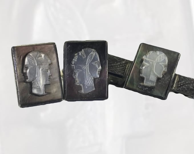 Vintage Cameo Cufflinks and Tie Clip of the Three Faced Soldier in Sterling Silver and Mother of Pearl. Gift for Him. Grooms Gift.