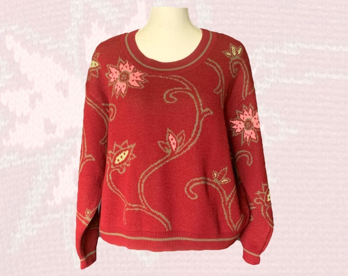 Vintage Red Wool Sweater with Pink Floral Design by United Colors of Benetton. Refined Bohemian Style. 1980s Sustainable Womens Fashion.