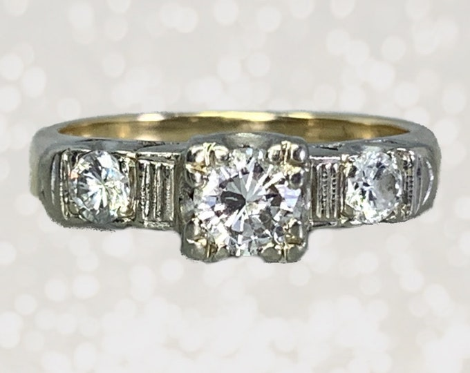 Vintage Diamond Engagement Ring in a 14K White and Yellow Gold Setting. Three Stone Past Present Future. 1940s Sustainable Estate Jewelry.