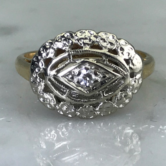 Vintage Diamond Shield Ring In An Art Deco Gold Setting April Etsy