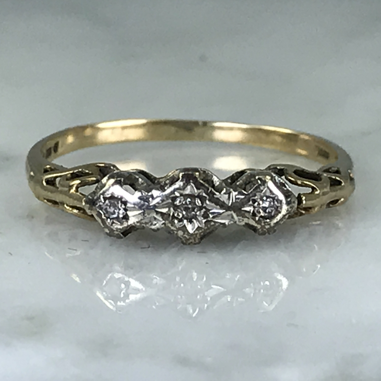 Vintage Diamond Wedding Band Unique Engagement Ring April