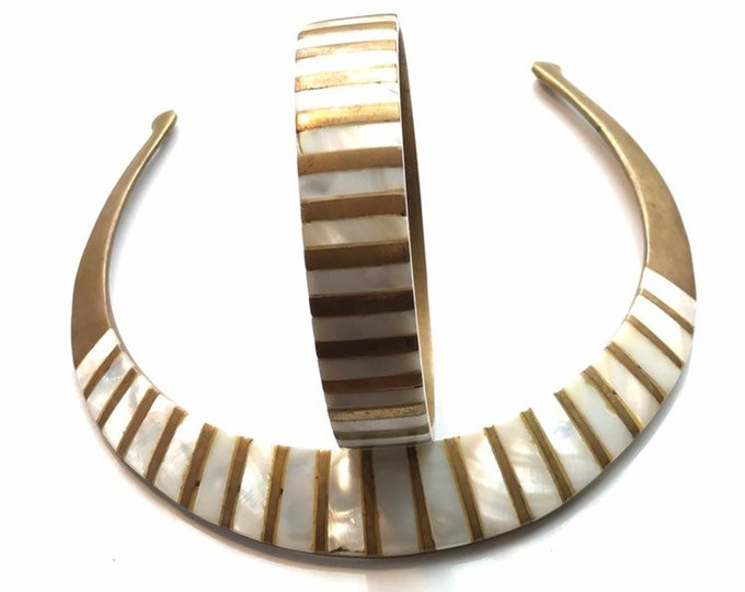 Brass Choker Necklace and Bangle Bracelet Set with Mother of Pearl Inlays. Perfect Wedding Day Jewelry! 1970s Sustainable Costume Jewelry