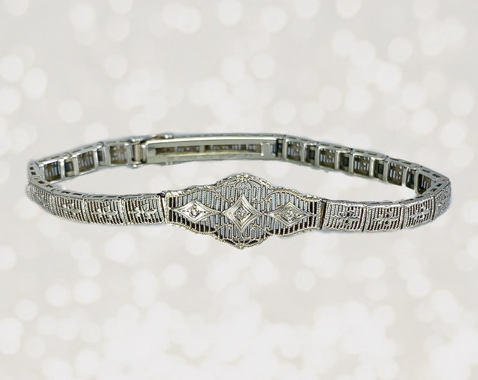 Art Deco Diamond Bracelet in 10K White Gold Filigree Link Setting. April Birthstone. Something Old for a Bride to Be. Antique Estate Jewelry