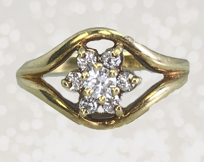 Vintage Diamond Cluster Ring in 14K Yellow Gold Floral Setting. Unique Engagement Ring. April Birthstone. 10 Year Anniversary Gift.