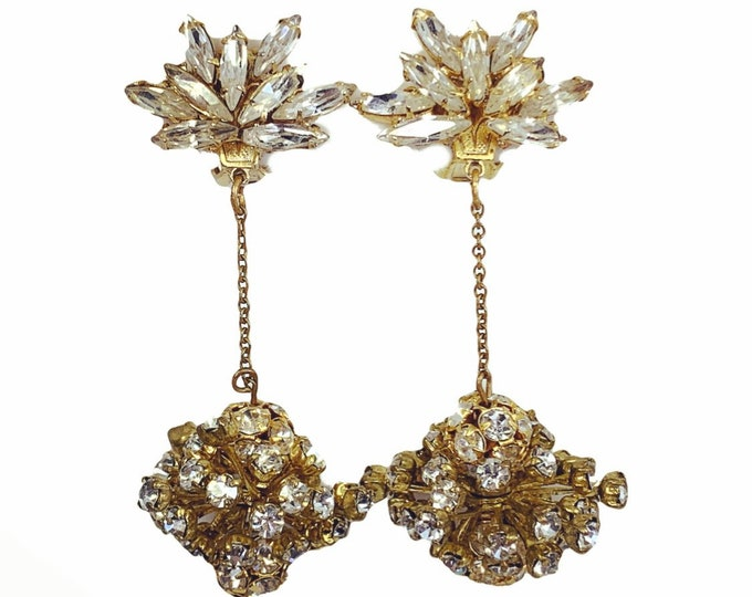 Vintage Rhinestone Drop Earrings by Hattie Carnegie Early 1950s. Stunning Clip-on Earrings with Lots of Sparkle. Perfect for New Years Eve.