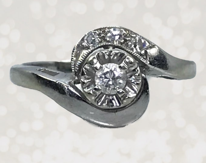 Art Deco Diamond Engagement Ring in 14K White Gold. April Birthstone. 10 Year Anniversary Gift. Sustainable Vintage Jewelry. 1920s Antique