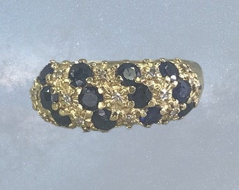 Vintage Sapphire and Diamond Ring set in 14k Yellow Gold. Unique Wedding Band. 1970s Sustainable Estate Jewelry. September's Birthstone.