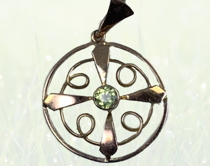 Vintage Peridot Pendant in Rose Gold made to Ward off Evil Spirits. August Birthstone. 1930s Sustainable Estate Jewelry.