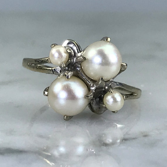Vintage Pearl Ring 14k White Gold Pearl Engagement Ring Etsy