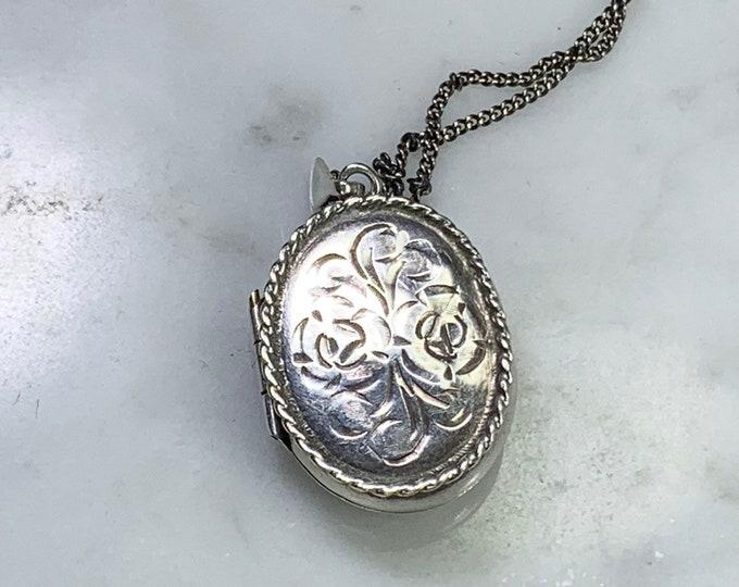 Vintage Sterling Silver Photo Locket. Floral Etched Pendant. Full European Hallmark. Gift for Her. Brides Gift. Graduation Present.