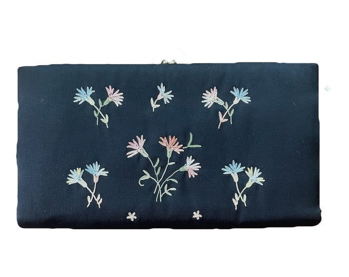 Vintage Black Clutch with Floral Embroidery by Maxim. Silk Evening Bag with Blue Green and Pink Flowers. Sustainable Fashion Accessory.