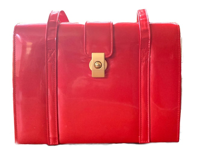Vintage 1950s Red Patent Leather Purse or Shoulder Bag with Gold Tone Hardware. Sustainable Statement Fashion Accessory.