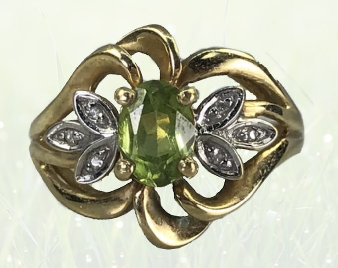 Vintage Peridot and Diamond Cocktail Ring in 10K Yellow Gold. 1970s Sustainable Estate Jewelry. August Birthstone. 16th Anniversary Gift.