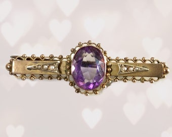 Antique Amethyst Brooch or Pendant in Rose Gold. February Birthstone. 6th Anniversary Gift. Sustainable Estate Jewelry Vintage 1930s.