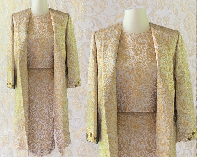 Vintage Wiggle Dress Suit in a Gold and Cream Jacquard  by Lee Richard. Skirt, Top and Jacket. Old Hollywood Glamour Formal Wedding Attire.