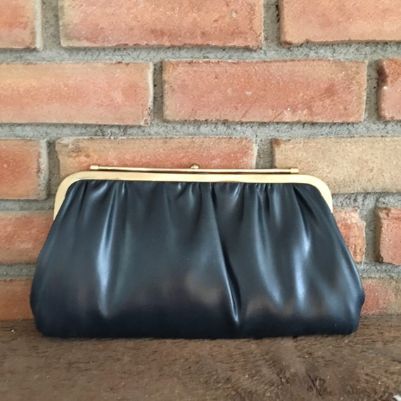 9daabbad91 Vintage Clutch Purse Reversible White or Navy Blue. Gold Tone