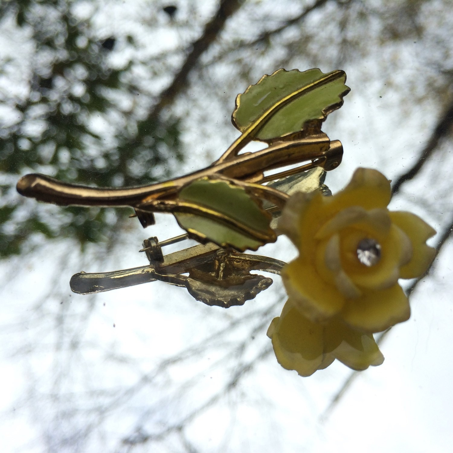 Vintage Yellow Flower Brooch Gold Tone Pin With Hand Painted Yellow