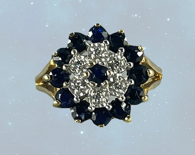 Vintage Sapphire and Diamond Halo Ring in Solid Yellow Gold. Perfect Unique Engagement or September Birthday. Sustainable Estate Jewelry