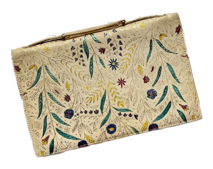 Vintage Leather Clutch with Hand Dyed Floral Design. Perfect Statement Bag. 1950s Sustainable Vintage Womens Fashion Accessory.