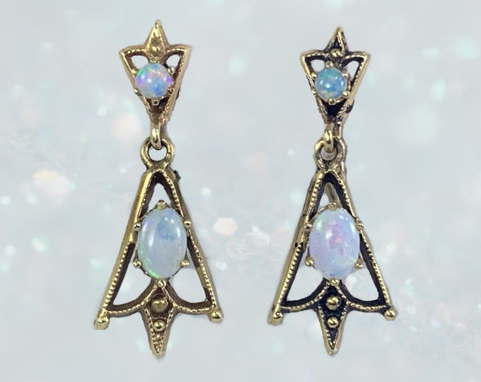 Vintage Opal Drop Earrings in 14K Yellow Gold Setting. 1940s Old Hollywood Glam! October Birthstone and 14th Anniversary Gift.