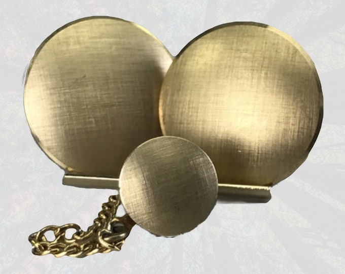 Vintage Mid Century Modern Cufflinks and Tie Tack Set in a 12K Gold Filled Satin Finish by Swank. Sustainable Mens Jewelry Circa 1950s.