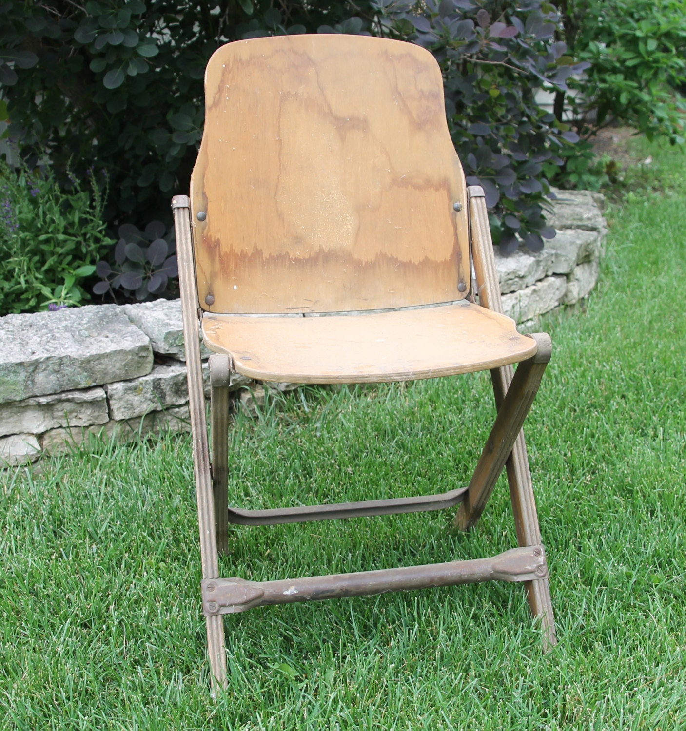 Vintage Wood Folding Chair. Government Issue 1940s. Military Memorabilia.  WWII Seating. Apartment Living. Industrial Seat