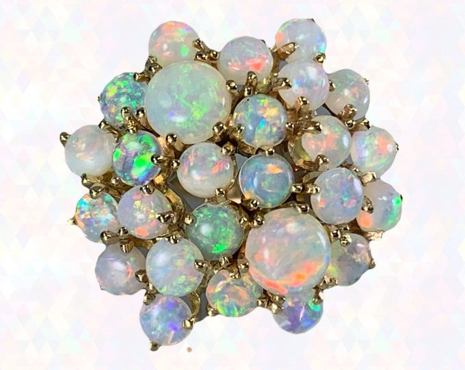 Vintage Opal Cluster Ring in 14k Yellow Gold. October Birthstone. 14th Anniversary Gift. 1970s Sustainable Estate Jewelry Circa 1970s.