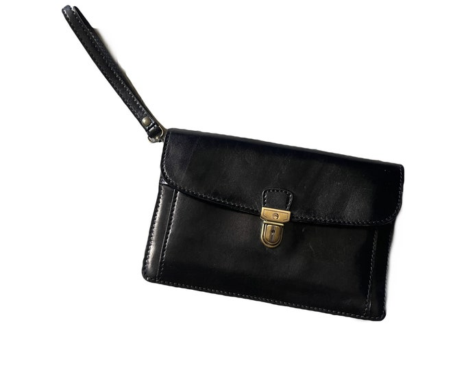 Vintage Black Leather Clutch from Italy. Envelope Style with a Wallet Organizer Section. 1980s Sustainable Vintage Fashion Accessory.