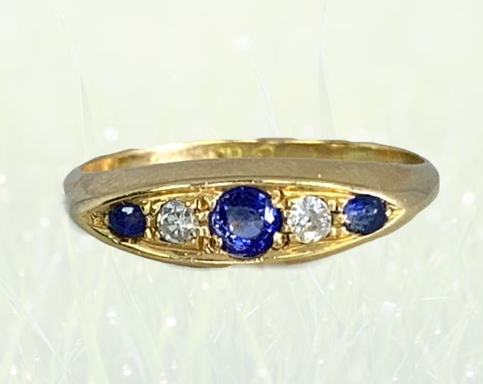 Antique Spinel and Diamond Ring in 18k Yellow Gold. Unique Wedding Band or Stacking Ring. August Birthstone. 1910s Estate Jewelry