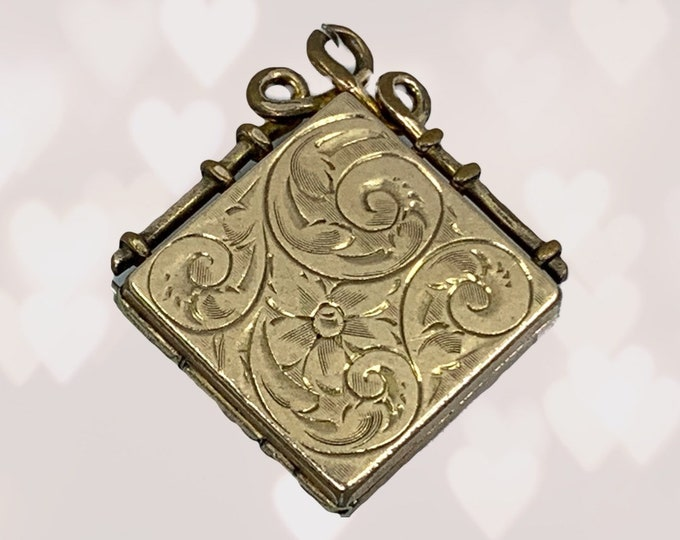 Antique Yellow Gold Locket with Floral Etching. Photo Pendants make Wonderful Heirloom Gifts. Secret Message to a Brides or Graduate.
