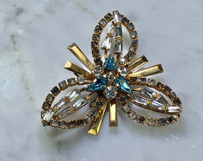 Vintage Rhinestone Brooch by Phyllis. Snowflake Lapel Pin perfect for Sweater Clip or Repurpose as a Necklace or Bracelet.