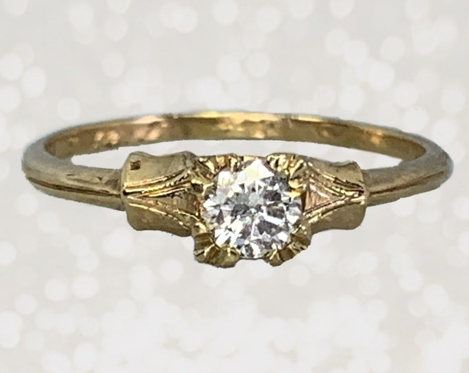 Vintage Diamond Engagement Ring set in 14K Yellow Gold. April Birthstone. 10 Year Anniversary Gift. 1940s Sustainable Estate Jewelry.