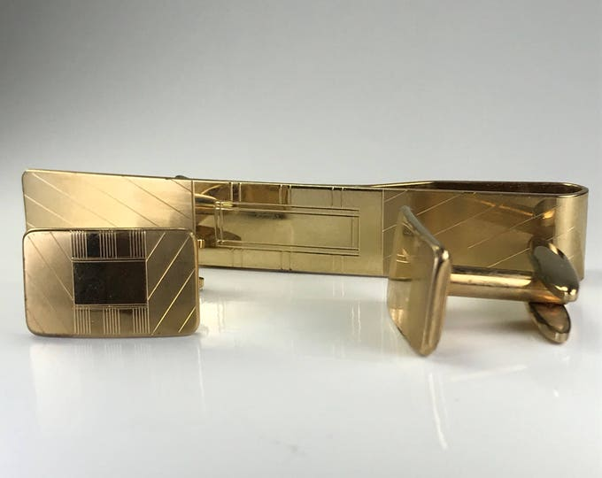 Vintage Cufflinks and Tie Bar or Money Clip Set. Gold Filled Simmons Cuff Links. 1920s Sustainable Men's Fashion. Grooms or Groomsman Gift.