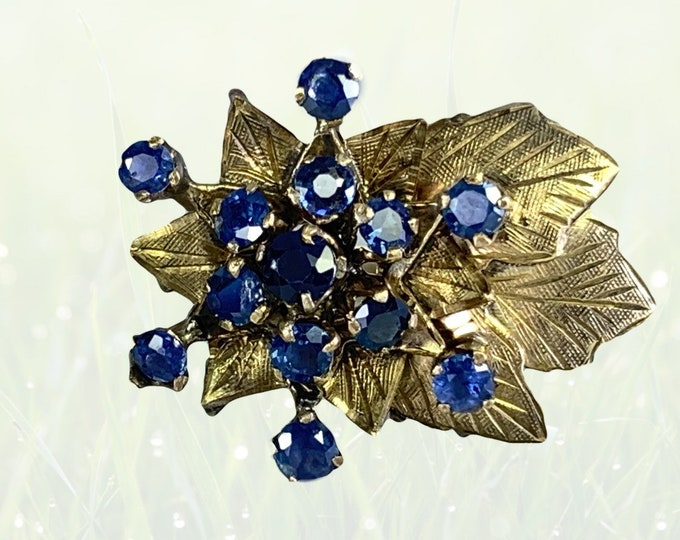 Vintage Blue Spinel Cluster Ring in a 14k Yellow Gold Art Nouveau Setting. Excellent Cocktail or Statement Ring. August Birthstone.