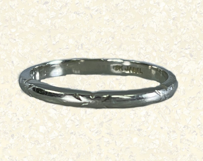 Vintage Gold Wedding Band by Jabel in 18k White Gold. Antique Stacking Ring. 1920 Sustainable One of a Kind Estate Jewelry.